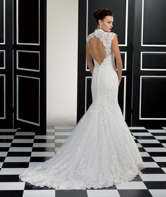 ADK Style #77946. A mermaid lace gown over soft tulle, with an open back